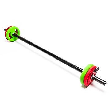 Barra larga para pesas con cierre de pinza + discos / 2 kg 4 kg 6