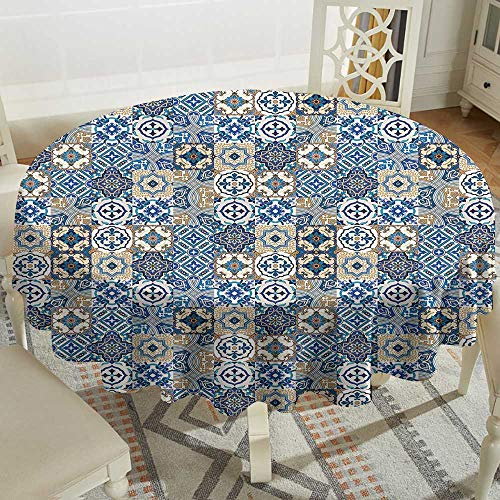Tablecloth 65 Inch Moroccan,Big Collection of Portuguese Traditional Azulejo Motifs Oriental Curls,Blue White Pale Brown Great for Traveling & More -