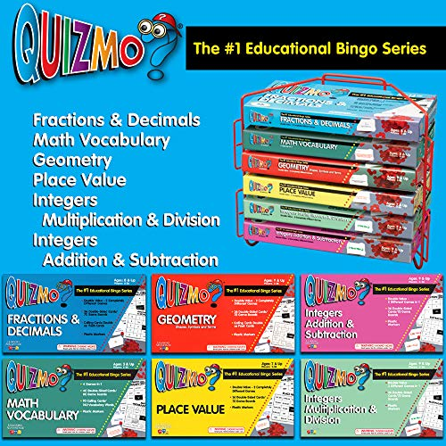 61QsladGXTL - Learning Advantage QUIZMO Advanced Elementary Math Series - Set of 6 Bingo-Style Math Games for Kids - Teach Fractions, Decimals, Math Vocabulary, Geometry, Place Value and Integers