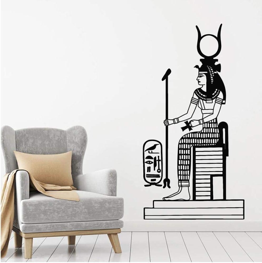 kldfig Mitología egipcia Tatuajes de pared Diosa Hathor Historia antigua Egipto Estilo Puerta Ventana Vinilo Pegatinas Dormitorio Decoración para el hogar Arte 42x80 cm