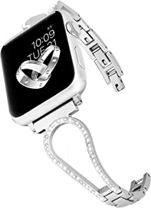CAGOS Compatible with Apple Watch Band 38mm 40mm Women, Unique Metal Bracelet Classic Cuff Wristbands Stainless Steel Straps Replacement for Apple iWatch Series 5/4/3/2/1 (U-Silver, 38mm/40mm)
