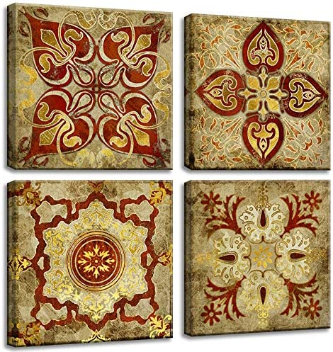 VIIVEI 4 Piece Canvas Wall Art Retro Moroccan Style Gold National Decoration Pattern India Home Decor Painting Canvas Pictures Posters Photos Livingroom Bedroom Framed Ready to Hang 24″x24″x4pc