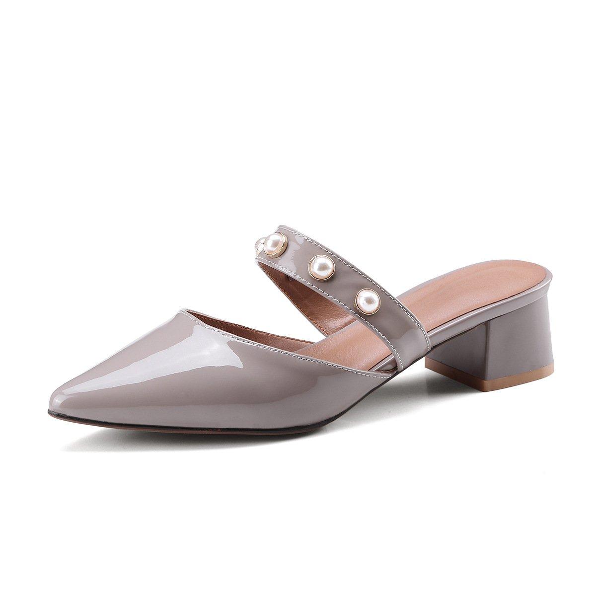 Zapatos de Mujer de Cuero 2018 New Spring Summer Comfort Mocasines y Slip-Ons de Tacón bajo, Perla de Imitación Punta Redonda para el Vestido 37 EU Segundo