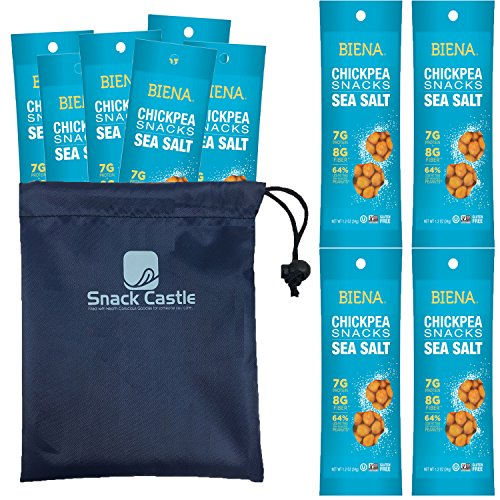 Biena Chickpea Snacks Sea Salt Flavor, Roasted Crunchy Chickpeas – Vegan / Non GMO for Weight Watchers - 1.2 Ounce 10-Pack with Snack Castle 9 x 8 Reusable Snack Pouch with Locking Knob Bundle
