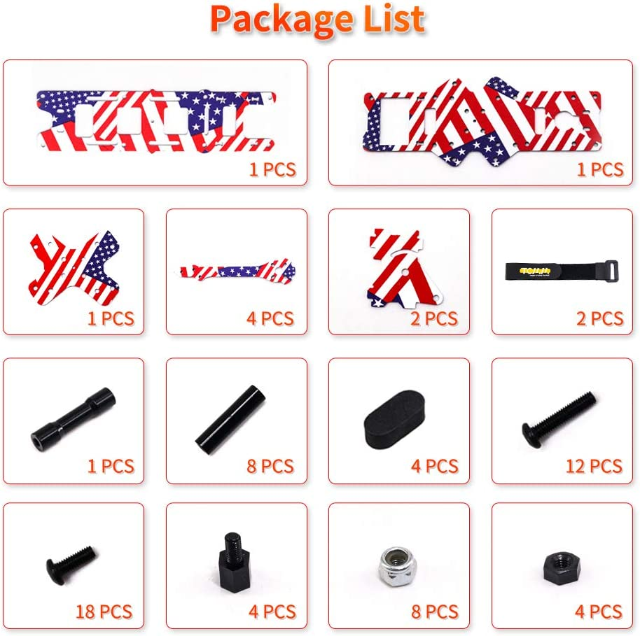 TCMMRC Drone Frame X220HV 5inch Wheelbase 220mm Arm 5mm US Flag 3K Carbon Fiber for RC Racing FPV Frame Kit Carbon Fiber with Double Tower Structure Design High-Power Version
