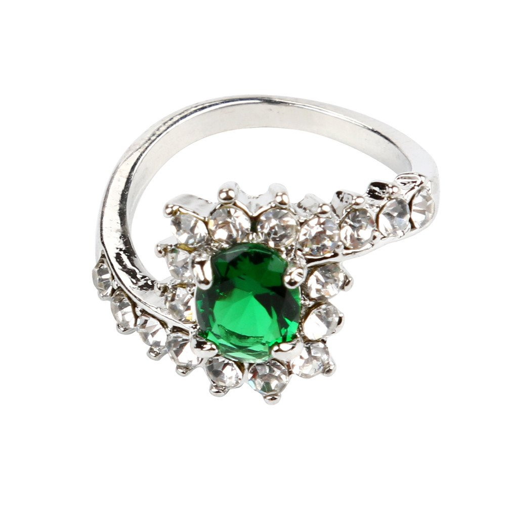 HUAMING Fashion Women Wedding Engagement Ring Colorful Crystal Jewelry Rings Size 5-10 (Green, 8)