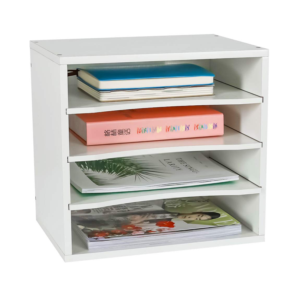 PAG Office Supplies Desk Organizer Wood File Mail Sorter with 3 Adjustable Drawer Boards,White
