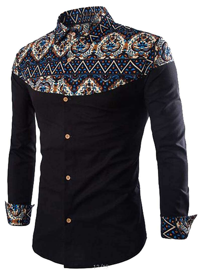 ARTFFEL Mens Button Down Ethnic Style Printing Long Sleeve Plus Size Dress Work Shirt
