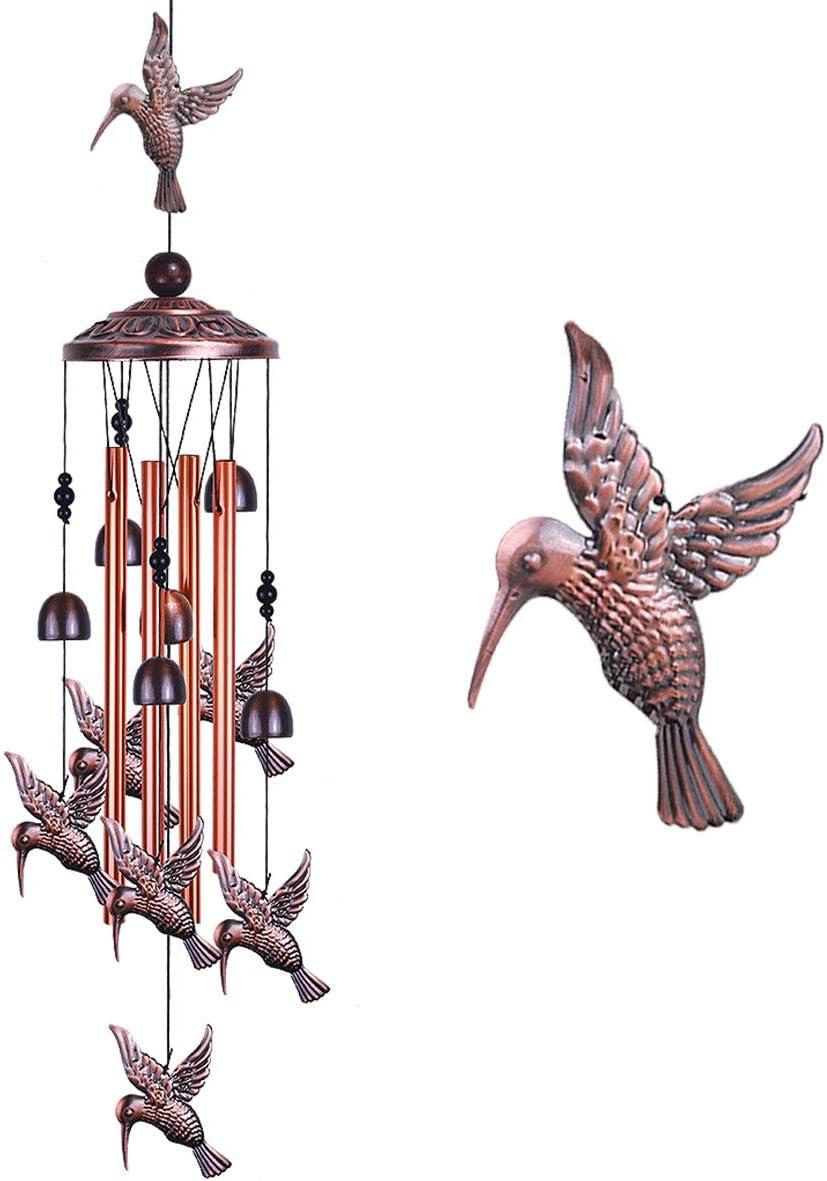 Garden Hummingbird Wind Chimes Outdoor Decor - With 4 tubes 6 Bells 7 Hummingbirds Mobile Romantic Wind Catcher, Hummingbird Windchimes for Home, Xmas Mom Gifts, Festival, Balcony, Garden Decoration