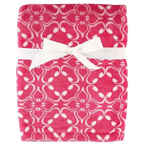 Hudson Baby Silky Plush Blanket, Pink Blossoms