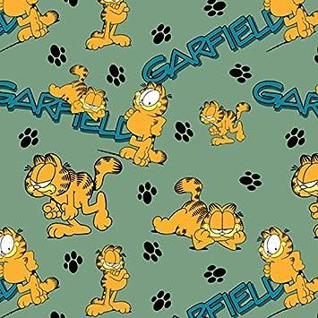 Stoffbreite Garfield Huellas de Gatos Verde Petrol Naranja - Jersey biostoff biojersey - 145 cm de Ancho - 50 cm por Unidad: Amazon.es: Hogar
