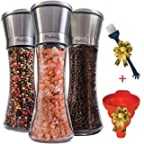 Salt and Pepper Grinders Set of 3 Glass Mills | Brushed Stainless Steel Shakers with Adjustable Ceramic Rotor, Silicon Funnel and Utility Brush by Wonder Sky