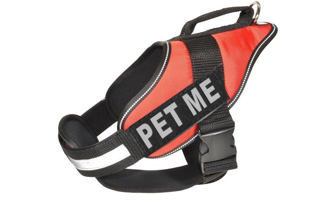 Dogline Alpha Nylon Service Vest Harness with Pet Me Velcro Patches, Medium, Red