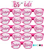 Team Bride Party Glasses - Novelty Sunglasses for Weddings, Bachelorette Parties and Bridal Showers (10pc Set, Hot Pink)