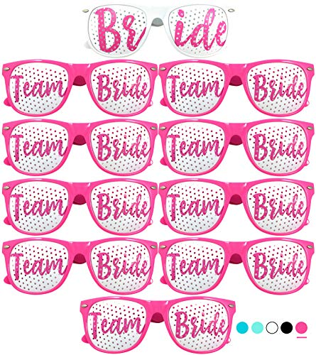 Team Bride Party Glasses - Novelty Sunglasses for Weddings, Bachelorette Parties and Bridal Showers (10pc Set, Hot Pink) -
