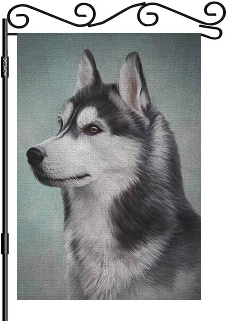 AOYEGO Siberian Husky Dog Burlap Garden Flag Double Sided Premium Fabric Drawing Portrait Oil Painting Outdoor Decoration Banner for Yard Lawn 12.5