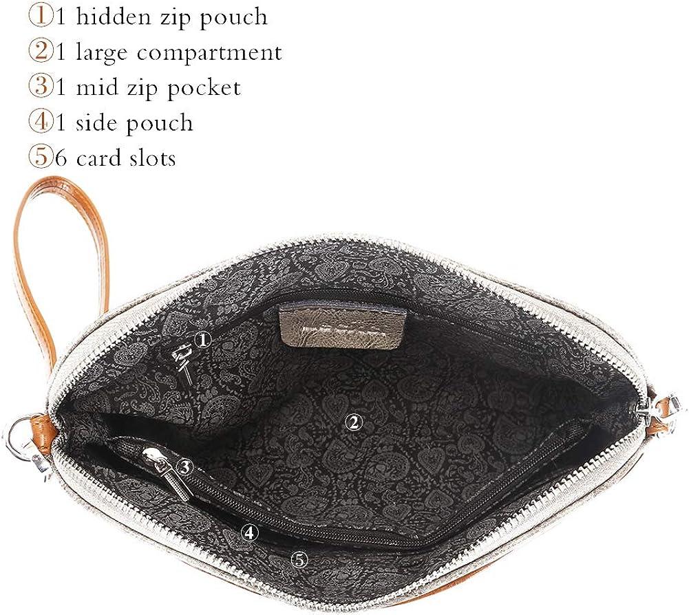Lecxci Small Womens Soft Vintage Leather Crossbody Travel Smartphone Bag Wristlets Clutch Wallet Purse