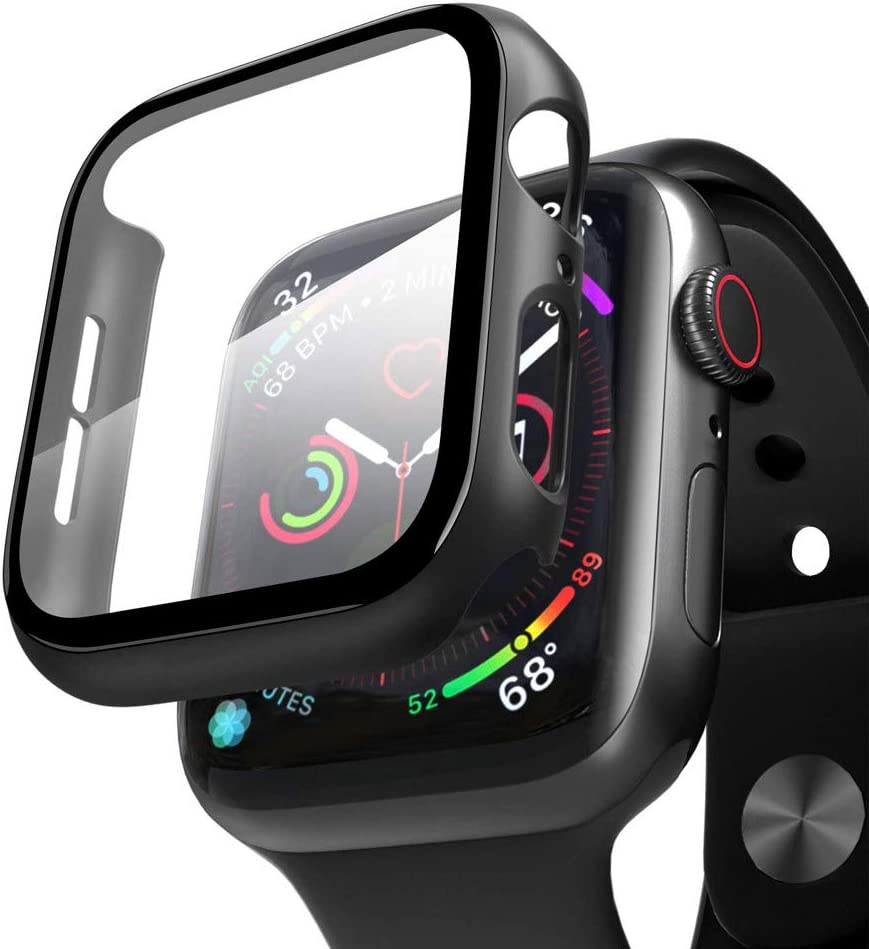 Compatible with Apple Watch Series 6/5/4/SE Tempered Glass Screen Protector Frame Protective Cover Case, Bumper Full coverage Matte Hard Case for Apple Watch Series 44mm (44mm)