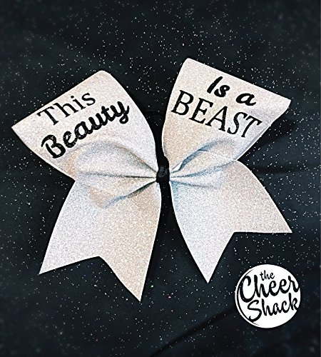 This Beauty Is A Beast, Silver Glitter Cheer Bow, Hair Bow - Image 1