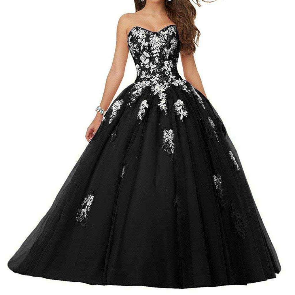 Black Vantexi Women's Sweetheart Lace Applique Quinceanera Dress Sweet 16 Ball Gown Prom Dress