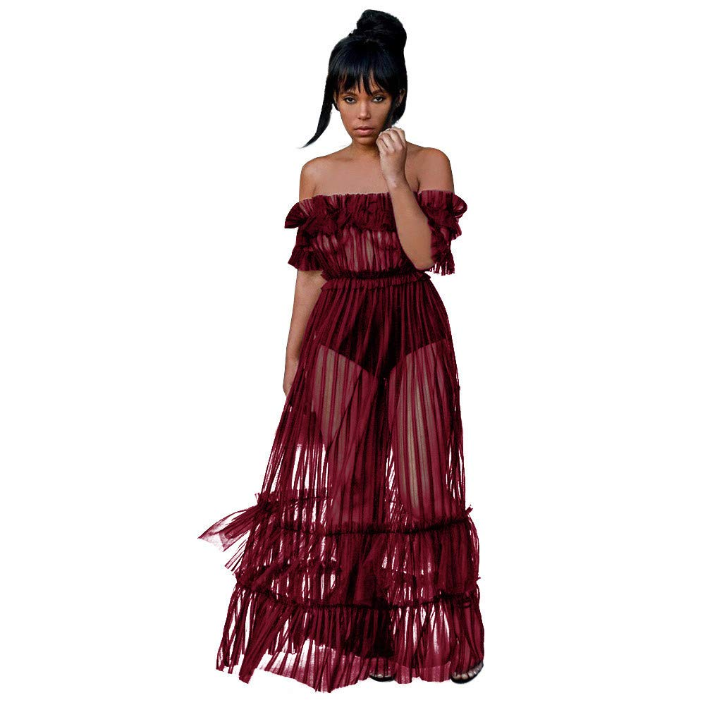 JESPER Women's Sexy Lace Off Shoulder High Wasit Flared Mesh Club Maxi Dress Red by JESPER (Image #1)