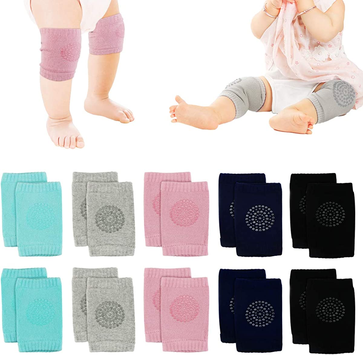 5 Pairs Nextnol Baby Crawling Anti-Slip Knee, Unisex Baby Toddlers Kneepads,Adjustable Knee Elbow Pads Crawling,Safety Protector for 9 months - 2 years