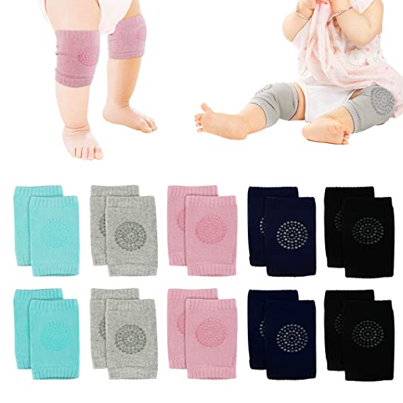 Baby Knee Pads Unisex Baby Toddlers Kneepads 5 Pairs Baby Crawling Anti Slip Knee Pads