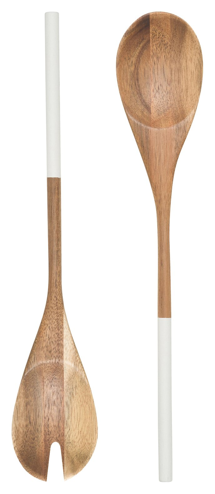 Now Designs Acacia Wood Salad Servers, Set of Two, Dipped White Handle