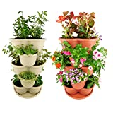 Amazing Creation Stackable Planter Vertical Garden for growing strawberries, herbs, flowers, vegetables and succulents| Indoor/Outdoor 5 tier Gardening Tower