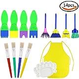 JPSOR Kit di 14 strumenti educativi spugna da pittura per bambini, per insegnamento artistico di bambini e fai da te