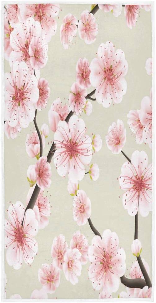 Serviette de toilette japonaise en forme de fleur de sakura Pour salle de bain polyvalente gymnastique Doux absorbante h/ôtel spa XIXIKO 30 x 38,1 cm