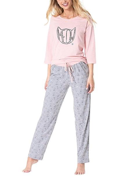 Rossli SAL-PY 1067 Pijama De Dos Piezas Camiseta De Manga 3/4 Pantalón Largo Para Mujeres, gris-rosa, L: Amazon.es: Ropa y accesorios