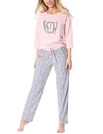 02fc65e15c Rossli SAL-PY 1067 Women s Pyjama Set 3 4 Sleeved Patterned Cats Cotton