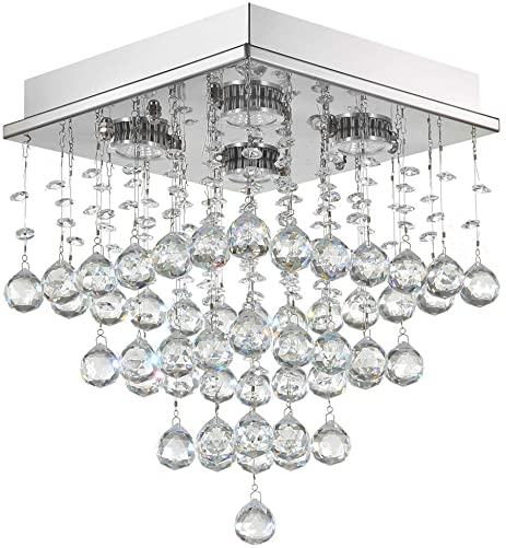 7PM Hallway Crystal Chandelier Mini Square Modern Chandelier Flush Mount Light Fixture