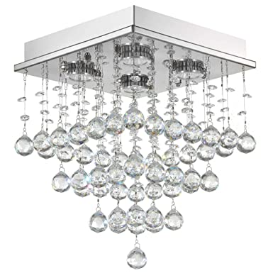 7PM Square Rain Drop Clear K9 Crystal Ceiling Light Lamp Modern Contemporary Chandelier Light Fixture 4 LED Bulbs Required Flush Mount W10 x H15
