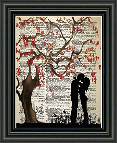(Cherry blossom art, couple kissing, romantic silhouette art, vintage book page art print)
