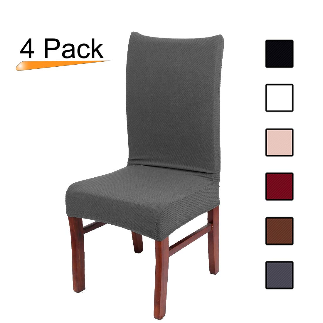 Colorxy Stretch Dining Room Chair Slipcovers - Spandex Fabric Removable Chair Protector Jacquard knitted Home Decor Set of 4, Grey