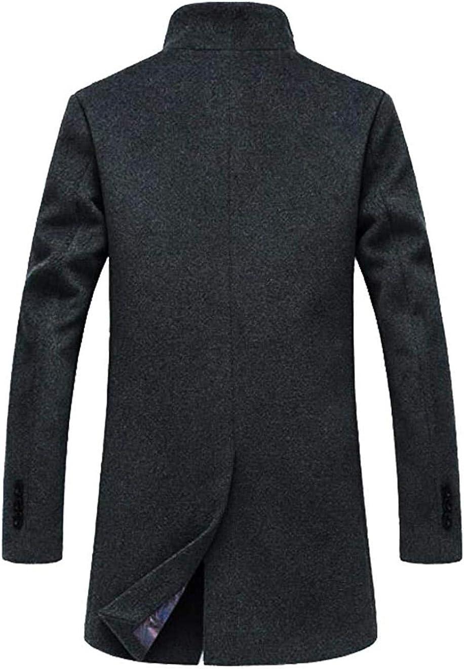 XY-M Slim Fit Cappotto Invernale di Lana Uomini Overcoat Affari Slim Lungo Giacche Antivento Grigio Trapuntato