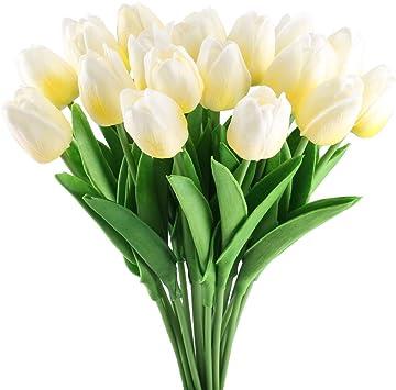 Wei/ß Lawei 30 St/ück Tulpe K/ünstliche Blume Real Touch Tulpenblumen f/ür Zuhause B/üro Garten Party Hochzeit