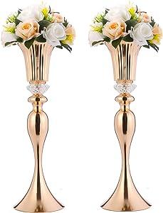 Wedding vases centerpieces Wedding Flower Vases, Set of 2 Wedding Road-Leading Vases, Acrylic Crystal Flower Stands, Metal Centerpiece Vases for Home Engagement (Gold, 56cm Horn)