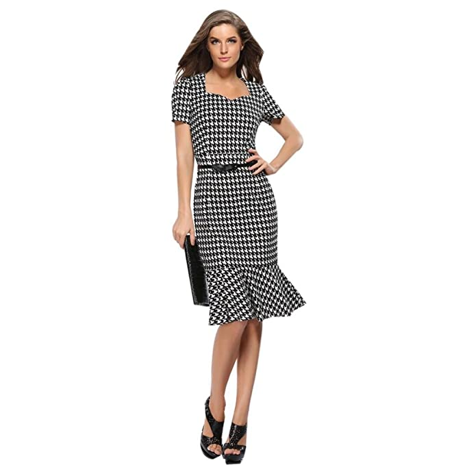 dcec191e23 Women's Elegant Vintage 50s Fishtail Houndstooth Dress Knee Mermaid Work  Cocktail Party Dress