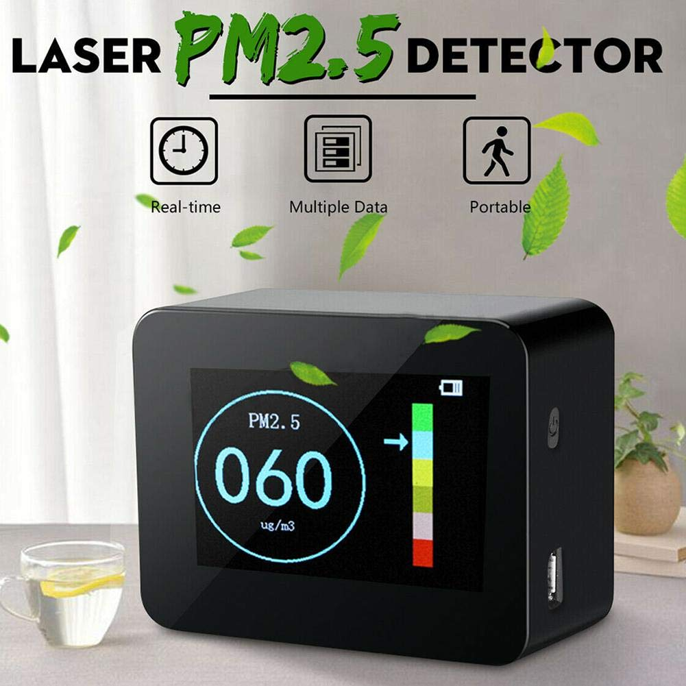 total-shop Air Quality Monitor Indoor Portable Laser PM1.0 PM2.5 PM10 Detector Air Quality Tester Home Office Car High Accuracy LCD