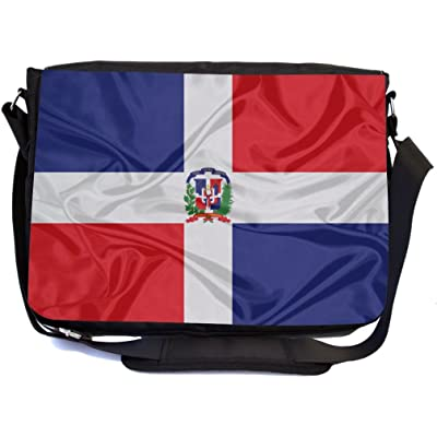 Rikki Knight Dominican Flag Design Multifunctional Messenger Bag - School Bag - Laptop Bag - with padded insert for School or Work - Includes Matching Compact Mirror