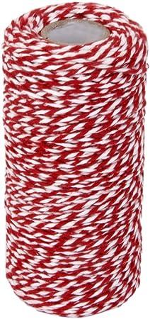 2 pi/èces de ficelle en coton pour loisirs cr/éatifs et d/écoration demballage cadeau 200 m de ficelle en coton 100 m//rouleau Blanc et or et rouge et or.