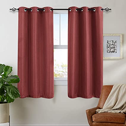 Curtains Burgundy Red 63 inch 2 Panels Living Room Waffle Weave Textured  Bedroom Window Treatment Curtain Set Kitchen Curtains
