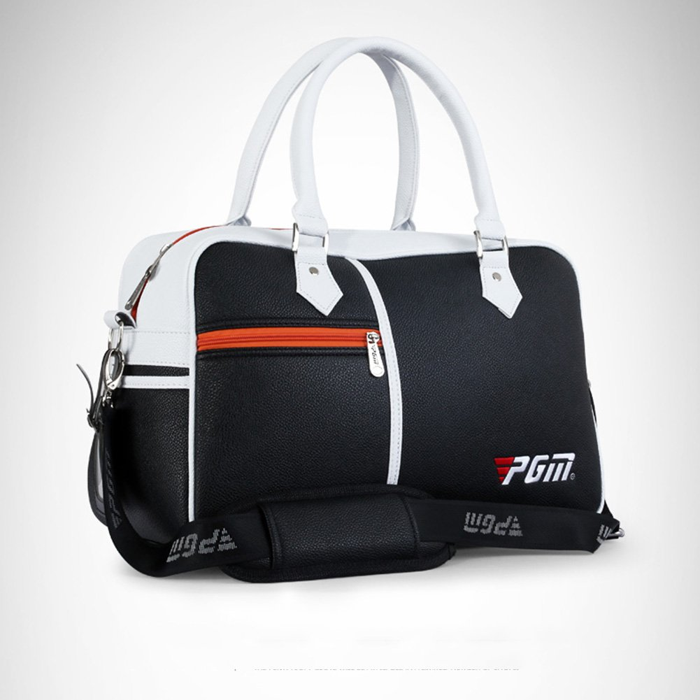 PGM PU Golf Duffle Bag Golf Clothing Bag,Boston Bag---with Seperate Shoes Store bag (black)