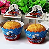 24 set Thomas the Train Cupcake wrappers and toppers ,Train party decoration,kids decoration supplies