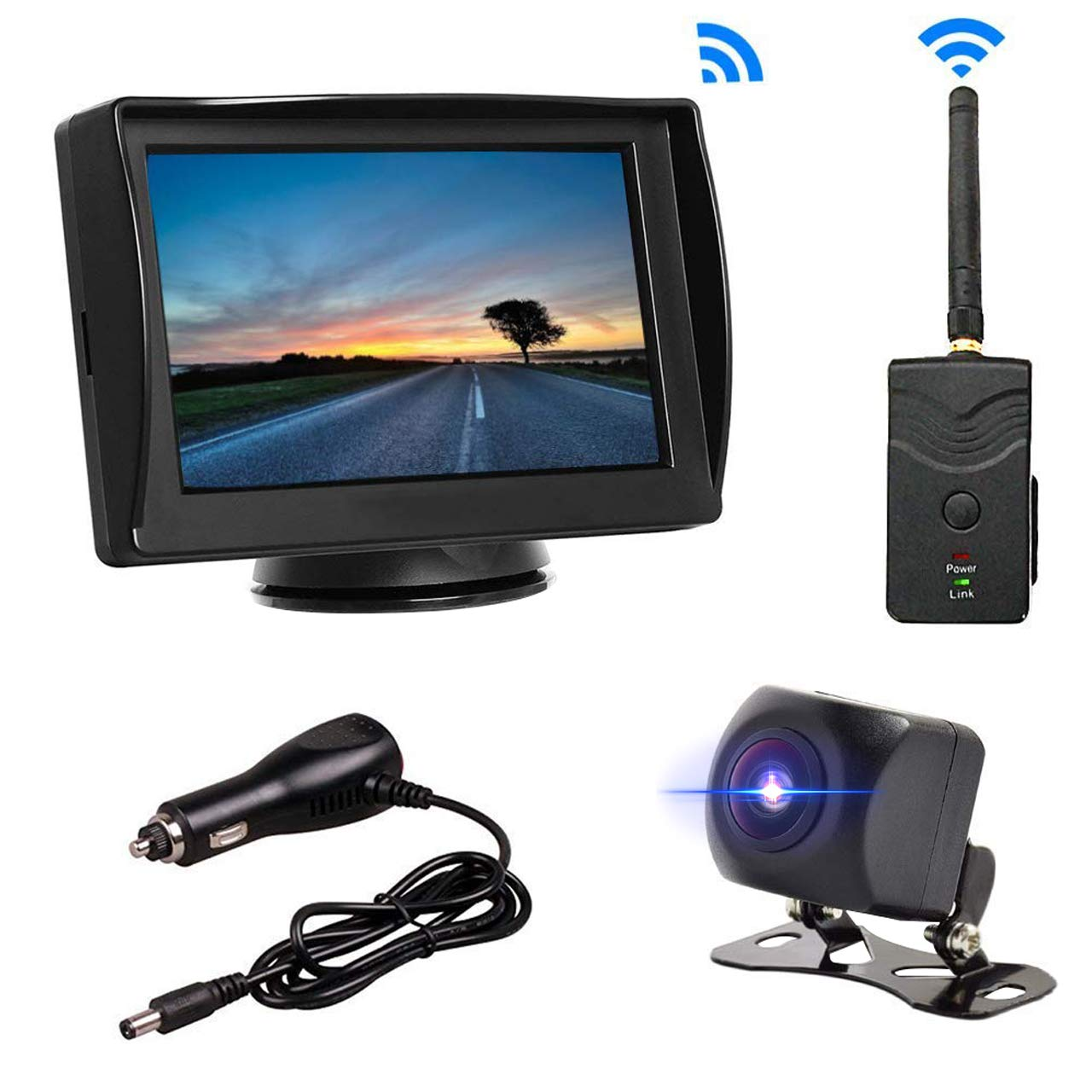 B-Qtech Digital Wireless Backup Camera – Mini Rear View Starlight Camera and 4.3 Monitor for Truck Camper Trailer Bus Van Removable Guild Line Mirror Normal Image No Interference