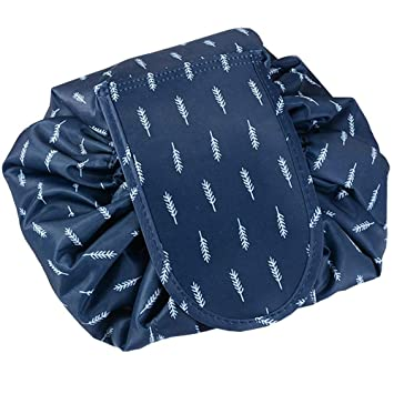 c31dbb45bed5 MMR Casual Waterproof Women Toiletry Bags Folding Large Capacity Lazy  Cosmetic Bags Blue Feather