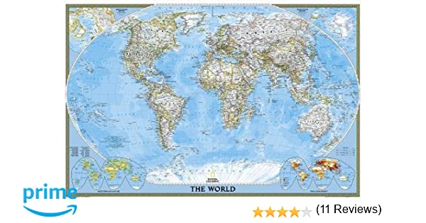 Latest World Map.World Classic Poster Size Tubed National Geographic Maps